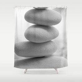 Zen beach rocks print, balancing rocks, mnimalist Beach decor, wall art Shower Curtain