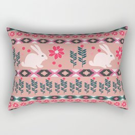 Ethnic decor with little bunnies Rectangular Pillow
