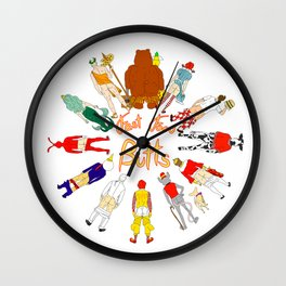 Fast Food Butts Mascots Wall Clock