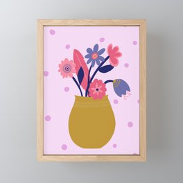 Pink Spotty Flower Framed Mini Art Print