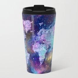 world map galaxy purple Travel Mug