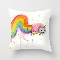 Rainbow Cat Meme Geek Whimsical Animal Painting Throw Pillow