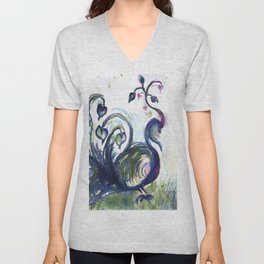Pink Hearted Peacock watercolor by CheyAnne Sexton Unisex V-Neck