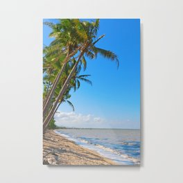 Coconut palms on beach Metal Print