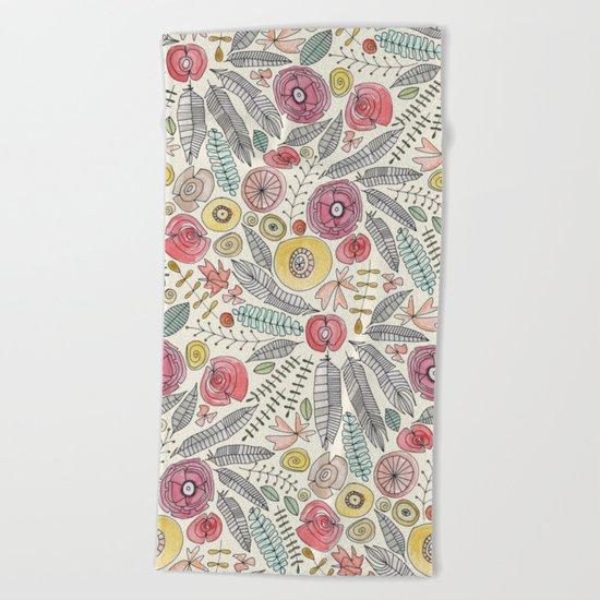 feather fleur watercolor Beach Towel