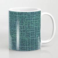 blueprint Mugs featuring Apple Blueprint by Rutmer