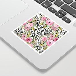 Elegant leopard print and floral design Sticker