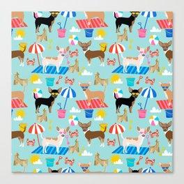 Miniature Doberman Pinscher dog beach day summer fun dog lover min pin Canvas Print