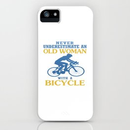 OLD WOMAN WITH A BICYCLE iPhone Case
