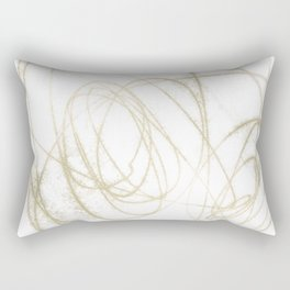 Beige and Brown Minimalist Abstract Line Drawing Rectangular Pillow