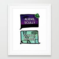 scully Framed Art Prints featuring Aliens, Scully by raynall