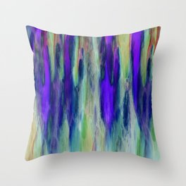 The Cavern in Shades of Purple and Green Throw Pillow