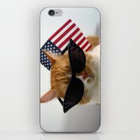 patriotic iPhone & iPod Skins featuring PAWSitively Patriotic by Michelle Dokos