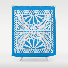 Fiesta de Flores in Party Blue Shower Curtain
