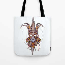 Male Venetian Jester Mask | Watercolor and Colored Pencil  Tote Bag