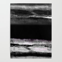 Elegant black and white modern abstract painting, marble texture Poster