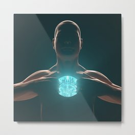 Android with working nuclear reactor core in its chest instead of a heart Metal Print
