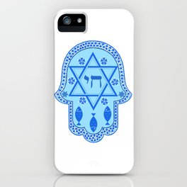 Hamsa for blessings - david shield - blue iPhone Case