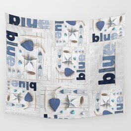 Blue collected items maritime collage Wall Tapestry