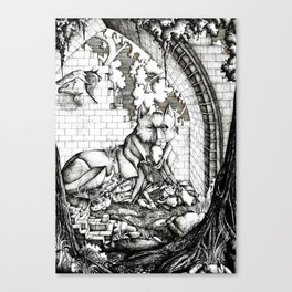 Lovers in the ruins Canvas Print