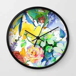 Watercolor Floral Pattern In Lilac, Yellow & Blues Wall Clock