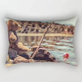 My Fishing Buddy a little teddy bear Rectangular Pillow