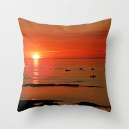 Kayaker and the Setting Sun Throw Pillow
