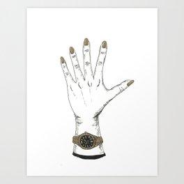 Hand with gold nail polish Art Print