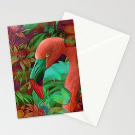 """Tropical Floral Retro Flamenco"" Stationery Cards"