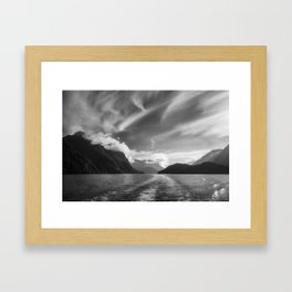 Dramatic clouds and alpine scenery at Lake Manapouri Framed Art Print