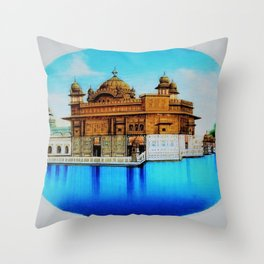 Classical Masterpiece 1825 Sri Harimandir Sahib - Golden Temple, Amritsar, India - Artist Unknown Throw Pillow
