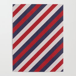 Red, Navy Blue & White Stripes Pattern Poster