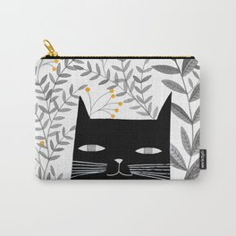 black cat with botanical illustration Carry-All Pouch