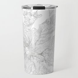 Mount Rainier, WA Contour Map In White Travel Mug