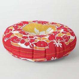 Hawaiian Red Gold Disc Floor Pillow