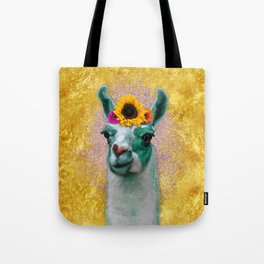 Flower Power Llama Tote Bag