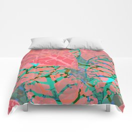 Coral Palm Shadows Comforters