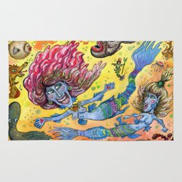 Blue-Finned Mermaids watercolor Rug