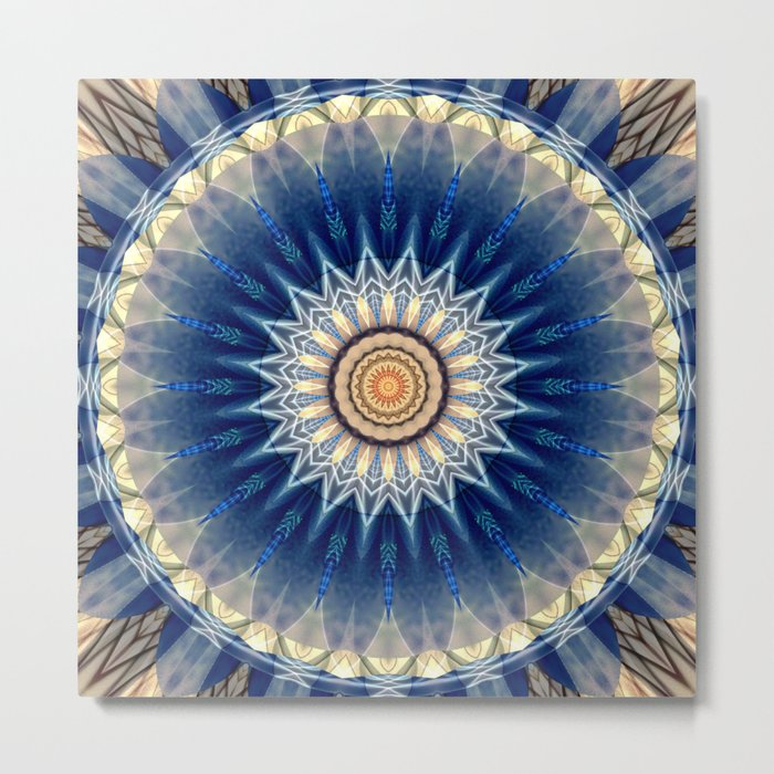 Mandala blue created by Tutti Metal Print