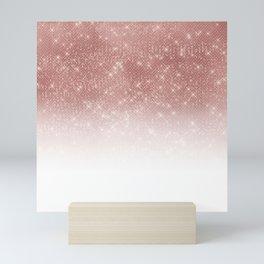 Girly Faux Rose Gold Sequin Glitter White Ombre Mini Art Print