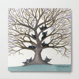 Hackensack Whimsical Cats in Tree Metal Print