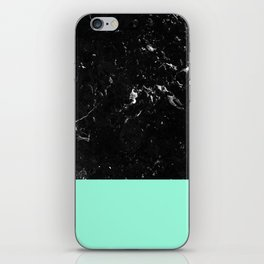 Mint Meets Black Marble #1 #decor #art #society6 iPhone Skin