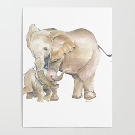 Mother's Love - Elephant Family Poster