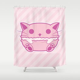 Pink Kawaii Cat Macaroon Shower Curtain