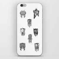 tooth iPhone & iPod Skins featuring Tooth 4 tooth by comma black