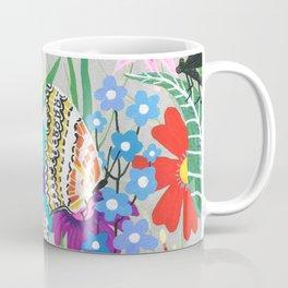 Butterflies and Moths Pattern - Grey Coffee Mug