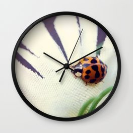 Ladybug On Flower Wall Clock