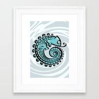 chameleon Framed Art Prints featuring chameleon by Erdogan Ulker