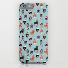Coonhound in winter hats iPhone Case