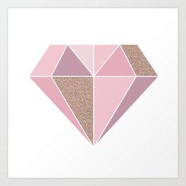 Shades of rose gold diamond Art Print